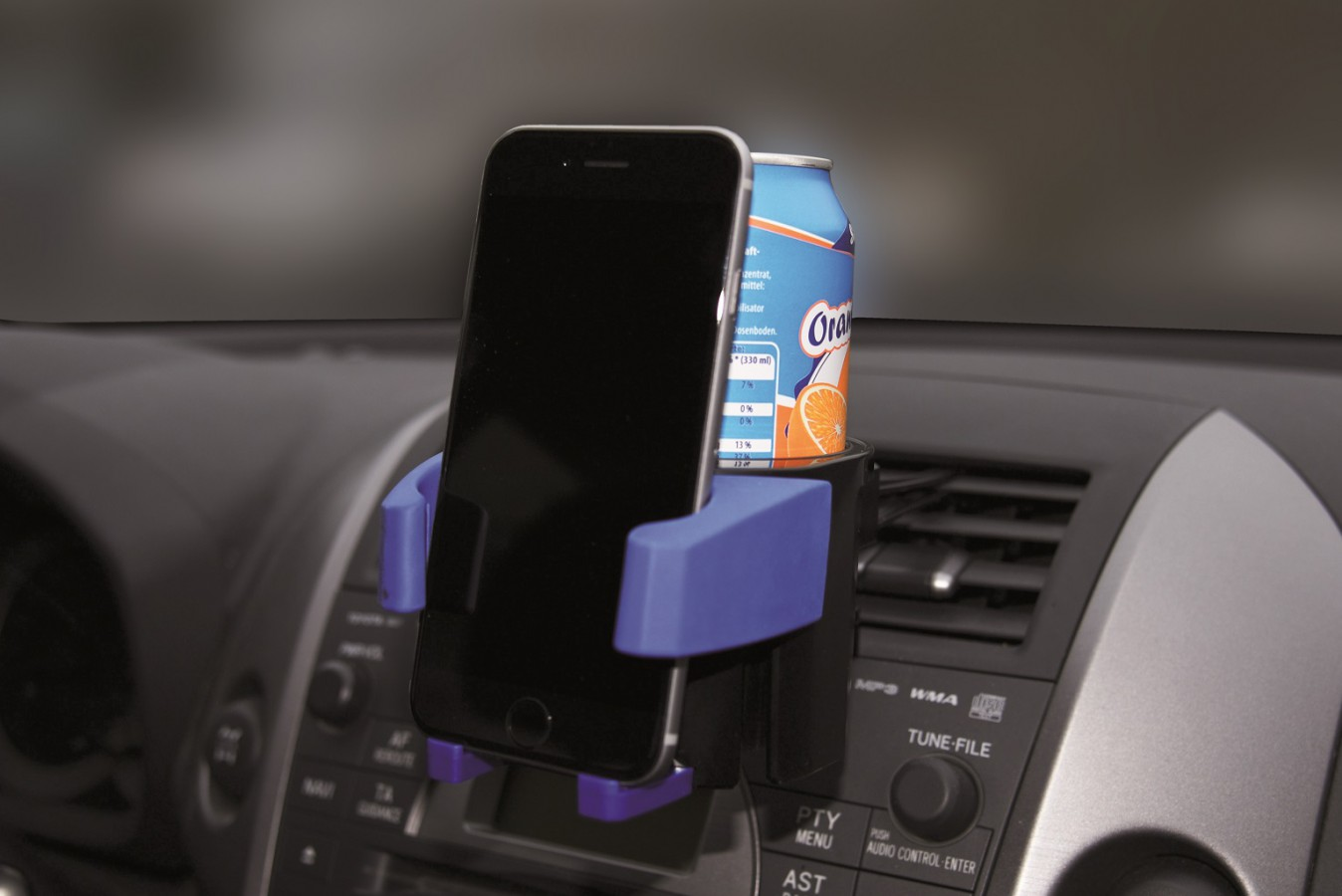 Drinks and mobile phone holder with can