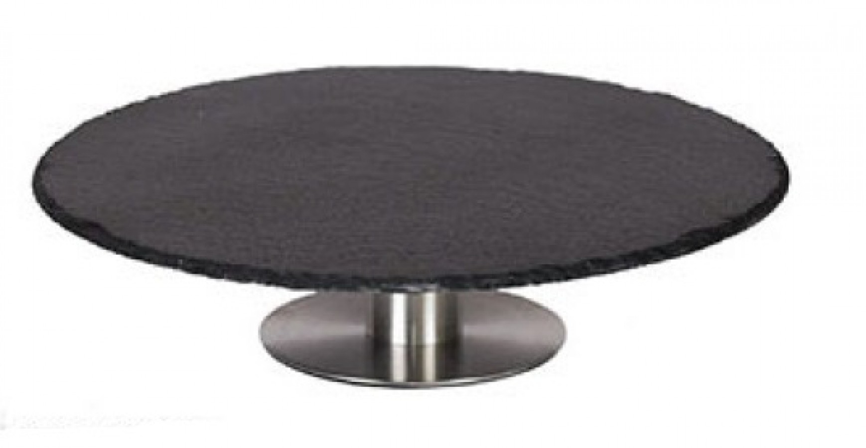 Cake plate slate with stainless steel base