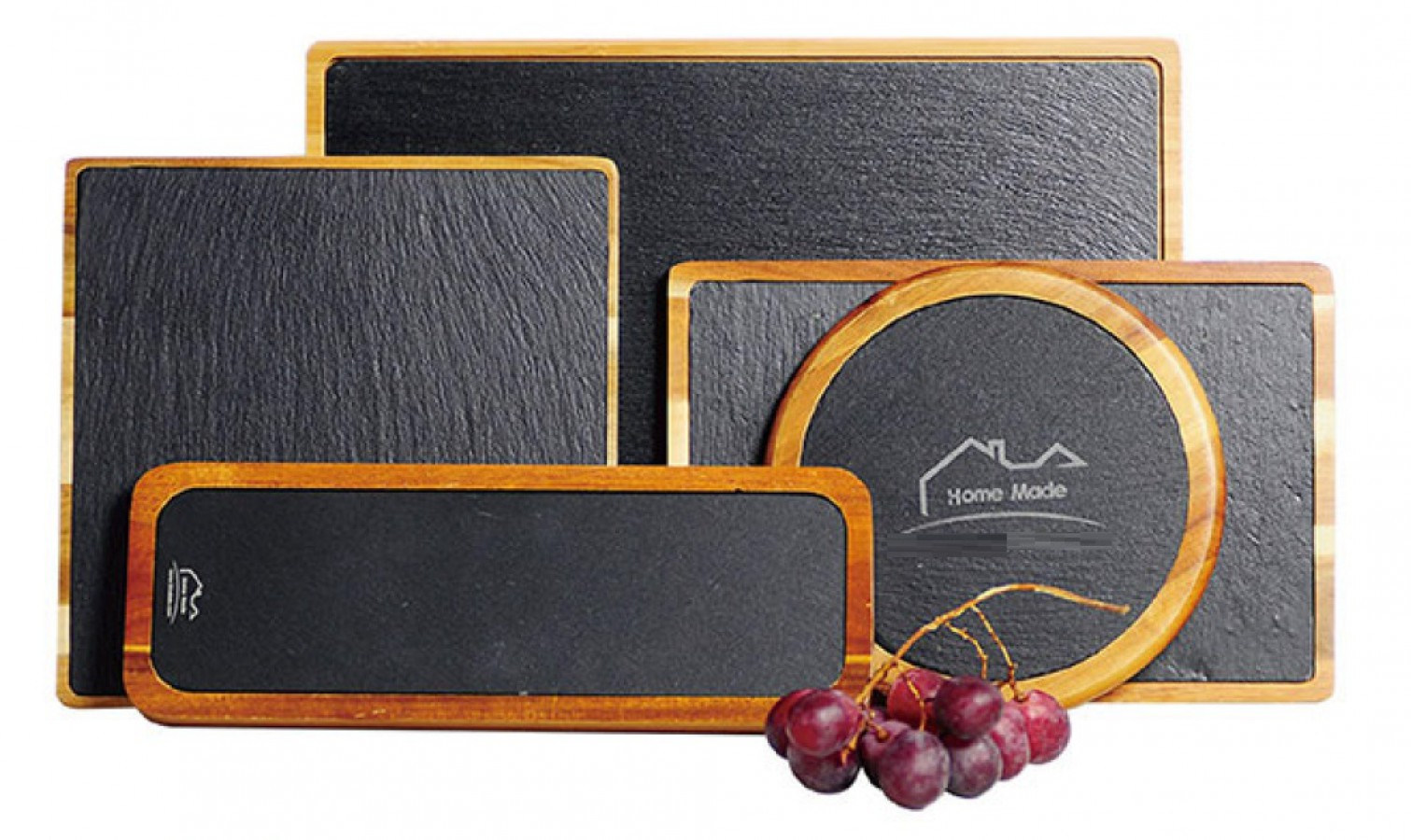 Slate boards with acacia wood