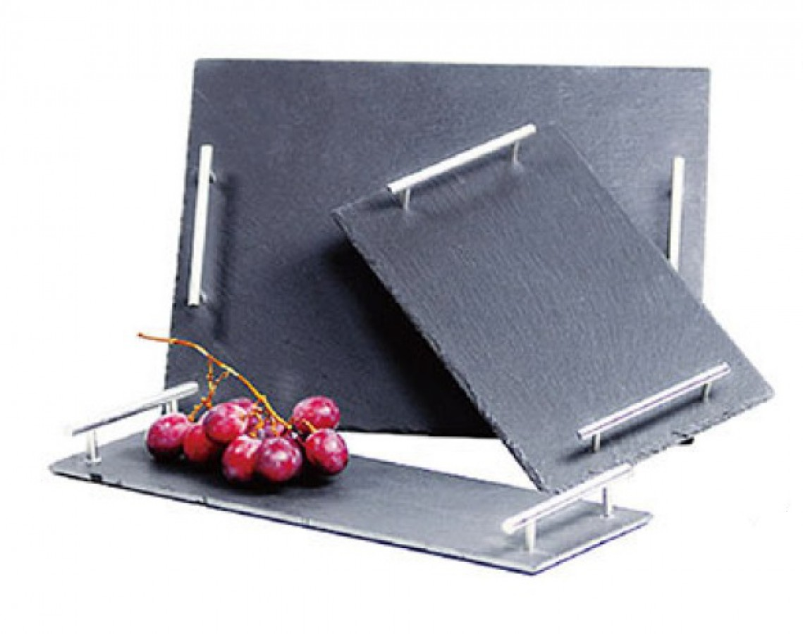 Slate tray with stainless steel handle