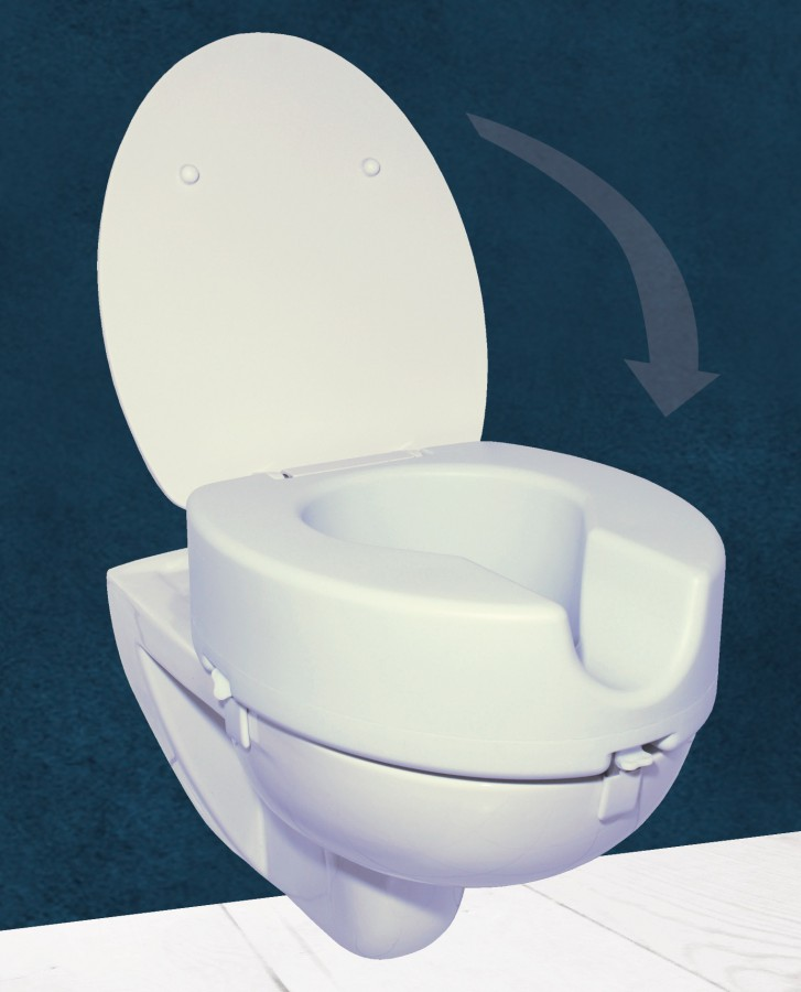 Toilet seat height with automatic lowering