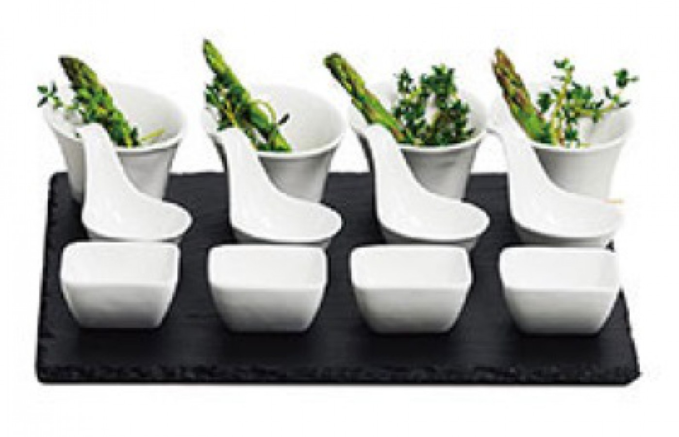 Slate plate with tapas bowls set of 4
