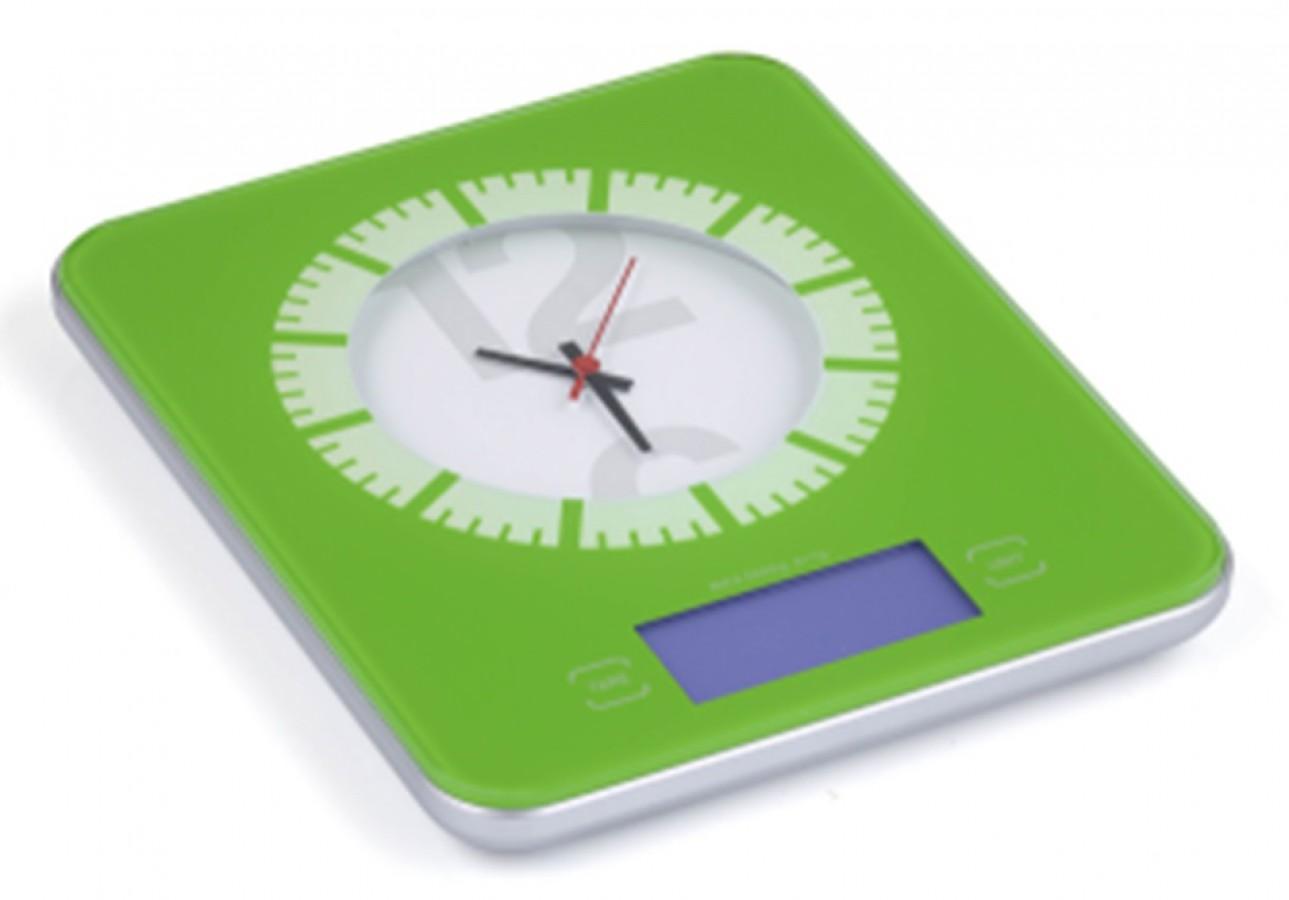 Digital kitchen scale with integrated analog clock