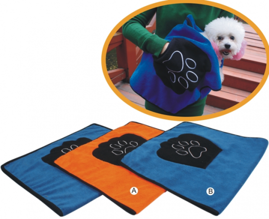 Towel for dogs with handle